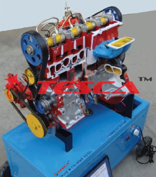 4 Stroke 4 Cylinder Diesel Engine - Motor Driven Actual Cut Section Working Model With Valve Timing Attachment