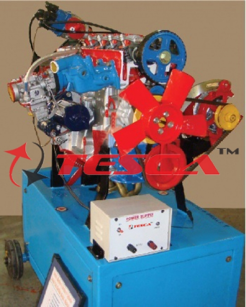 4 Stroke 4/3 Cylinder Petrol Engine - Motor Driven Actual Cut Section Working Model - With Valve Timing Attachment
