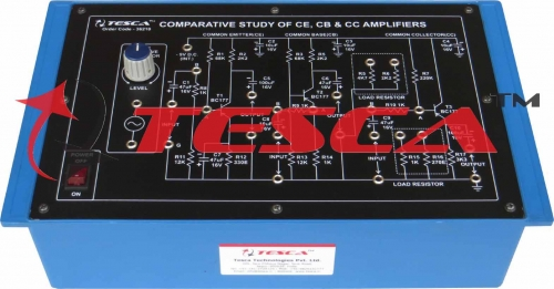 Comparative Study of CE, CB & CC Amplifiers  with power supply and oscillator 1KHz