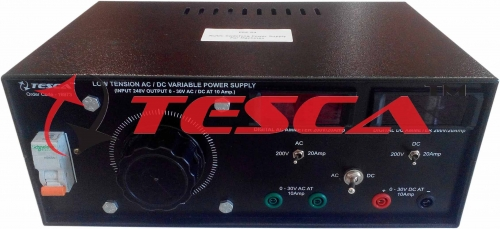 Low Tension AC/DC Power Supply with Voltmeter, Current Meter and MCB (0-30V @ 10A; AC or DC)