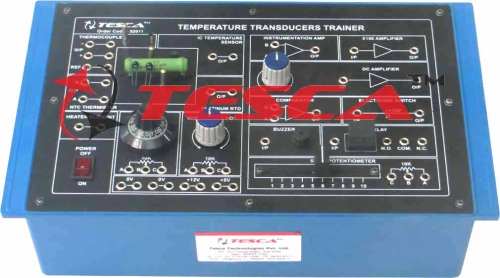 Temperature Transducer Trainer (N. T. C. Thermistor, Platinum R. T. D., Type K Thermocouple and IC Temperature Sensor)