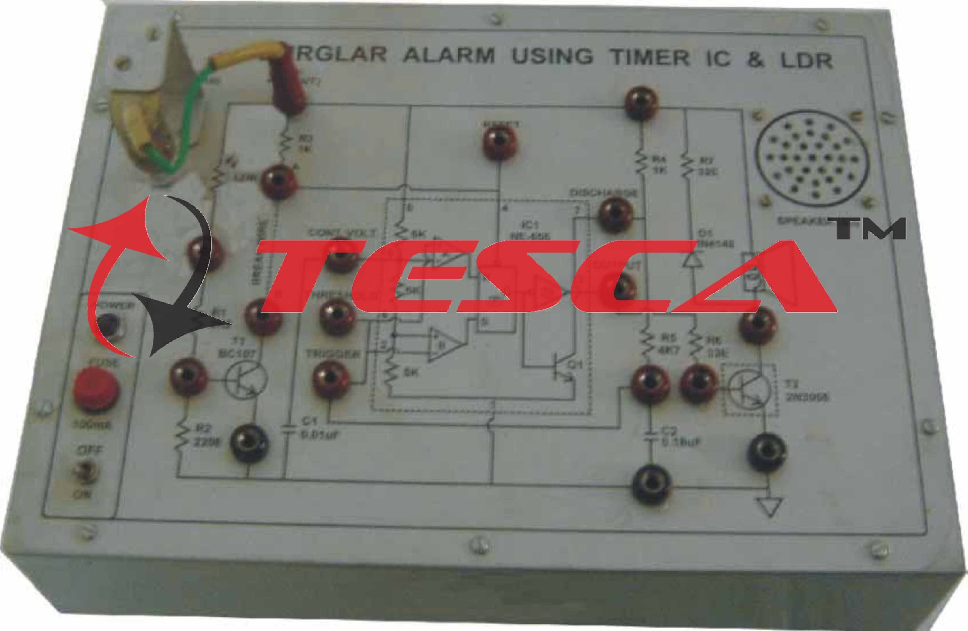 Burglar Alarm Using 555 Timer Ldr With Power Supply Cr Monostable Circuit Electrical Engineering Electronics